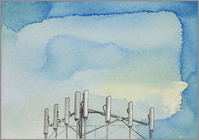 cell tower, water color, drawing, painting