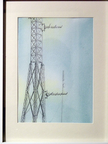 cell tower drawing cellphone painting watercolor