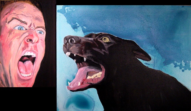 screaming head dog barking oil painting