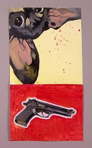 dog gun oil painting
