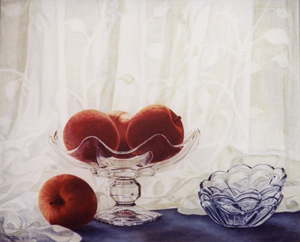 Three Apples in a Glass Compote