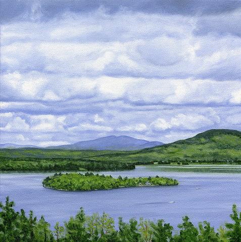 oil painting of rangeley lake, maine