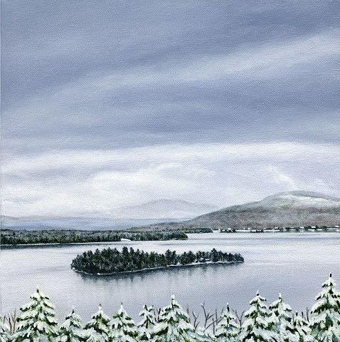archival art print Rangeley Lake December #2