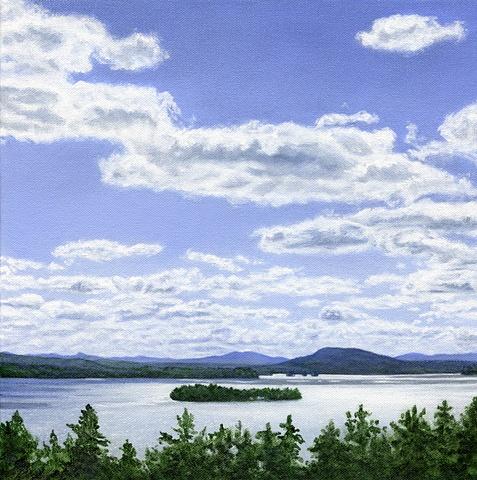 oil painting of Rangeley Lake in July
