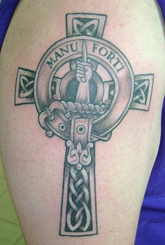 Scottish clan badge and celtic cross