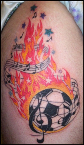 Soccer, music and flames.