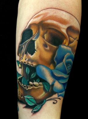 Realistic Skull with Rose Tattoo