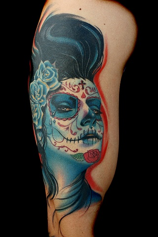Color Portrait Day of the Dead Tattoo