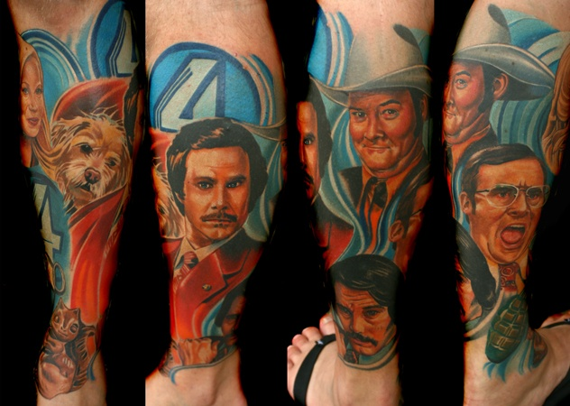 Anchorman Portrait Color Tattoo