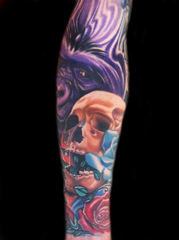 Color Tattoo of a Skull and Gorilla