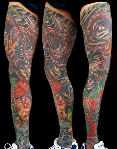 Oriental Color Tattoo Leg Sleeve
