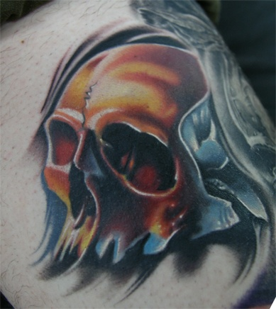 Skull I did on Jason's leg. Part of a collection of skull's by different Tattoo Artist. Very honored to be a part of it.