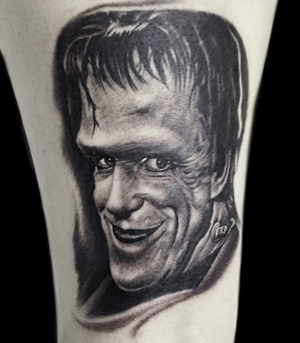 Black and Gray Tattoo of Herman Munster