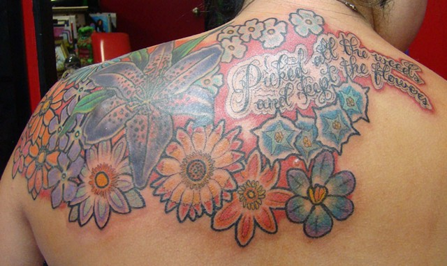 Quote and Flowers on Heather