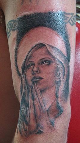 religious tattoo, cross tattoo, mary tattoo, Saints and Scholars Tattoos, Bastrop, TX,