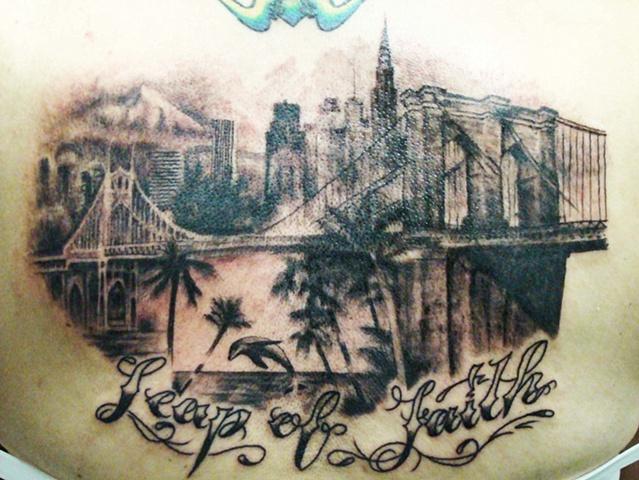 new york tattoo, portland tattoo, NY tattoo, brooklyn tattoo brooklyn bridge tattoo, dolphin tattoo, florida tattoo, Saints and Scholars Tattoos Bastrop, TX