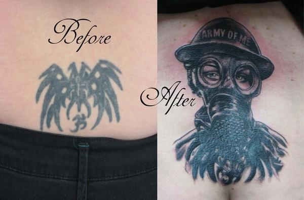 Gasmask tattoo, cover up tattoo, Saints and Scholars Tattoos, Bastrop, TX,