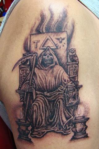 reaper Tattoo, skeleton tattoo, Saints and Scholars Tattoos Bastrop, TX