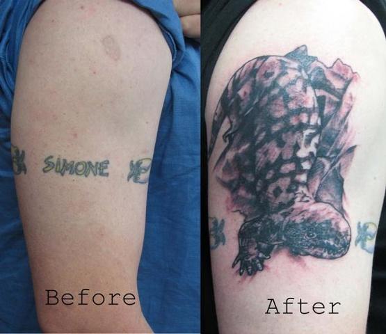 cover up tattoo, lizard tattoo, Saints and Scholars Tattoos, Bastrop, TX,