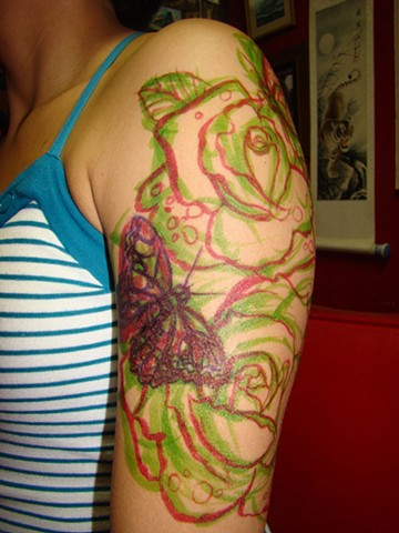 Drawing roses and butterflies on Valerie