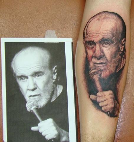 George Carlin tattoo, portrait, famous, Saints and Scholars Tattoos Bastrop, TX