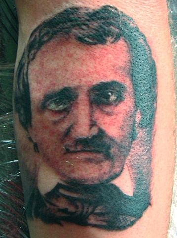 edgar allan poe, edgar allan poe tattoo, Saints and Scholars Tattoos Bastrop, TX,