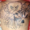 Lines in and a little shading on Caitlin's southern rebel eagle