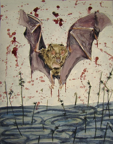 bat water watercolor