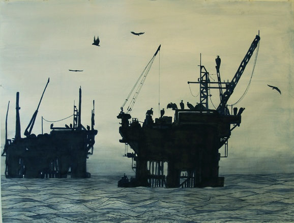 oil platform watercolor vultures