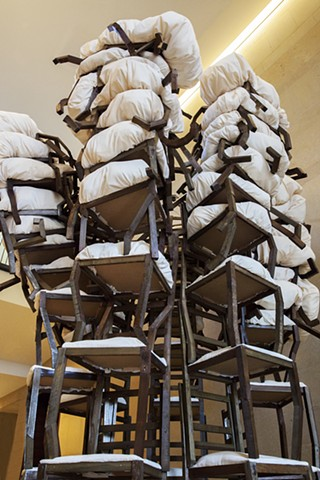 brian zimmerman, bryan, art, sculpture, las vegas, clark county government center, atomic art, chairs, puffy, crazy, webster university, weird chairs, stack, eab