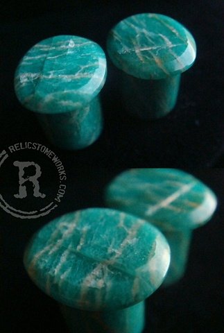 00g Rough Faced Amazonite Single Flares