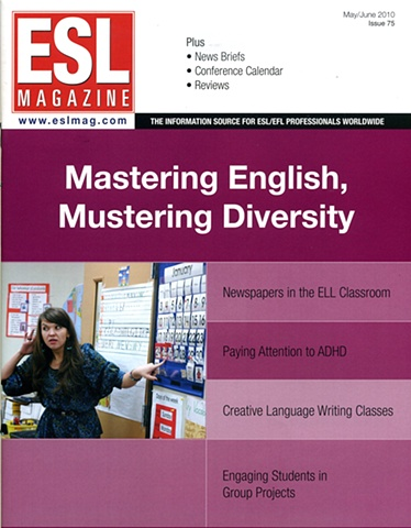 ESL Magazine cover  Article on ESL at Academy of World Languages in Cincinnati