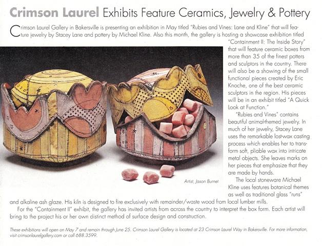 """Crimson Laurel Exhibits Feature Ceramics, Jewelry & Pottery"" The Laurel of Asheville"