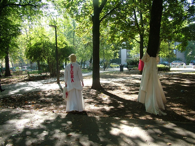 "Illusion Dress 3 ""Healing""  4 hour Durational performance in Park Tabor 9th October 2011  photo by Erna Ostanek"