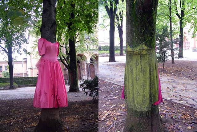 """Tree Dress Park Tabor, Ljubljana Oct - December 2011  Tree Dress on left is titled """"Bridesmaid of Honour""""  Tree Dress on right is titled """"Princess of Ireland"""""""