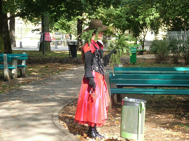 """Illusion Dress 2 """"Speaking""""  4 hour Durational performance in Park Tabor 8th October 2011"""