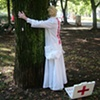 """Illusion Dress 3 """"Healing""""  4 hour Durational performance in Park Tabor 9th October 2011  photo by Erna Ostanek"""