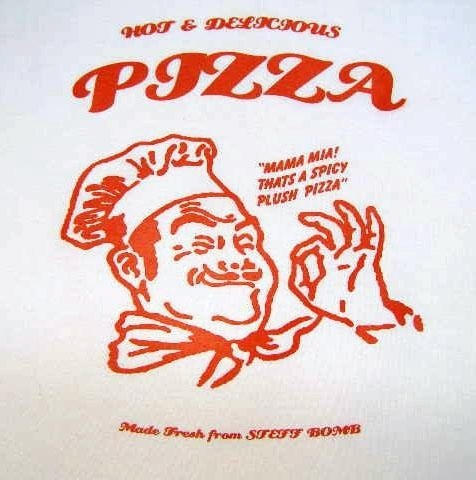 Anchovy, Shrimp, and Broccoli Pizza With Hand Sewn, SIlkscreened Pizza Box