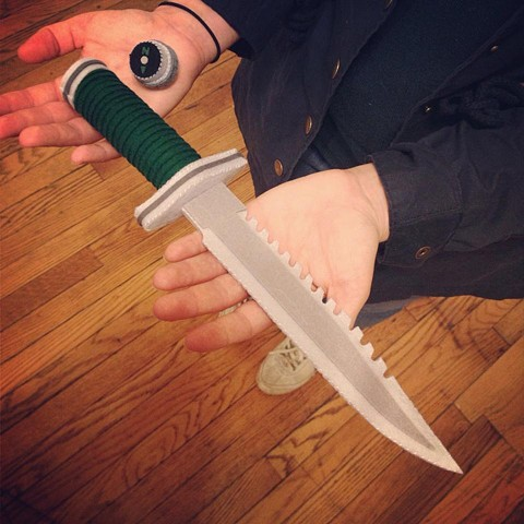 THEY DREW FIRST BLOOD! handsewn Rambo knife with secret removable compass.