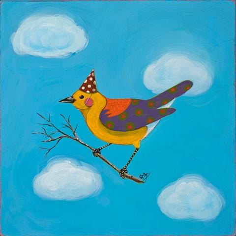 original pattern bird folk art