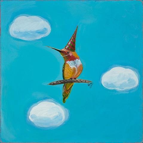 folk art humming bird party hat