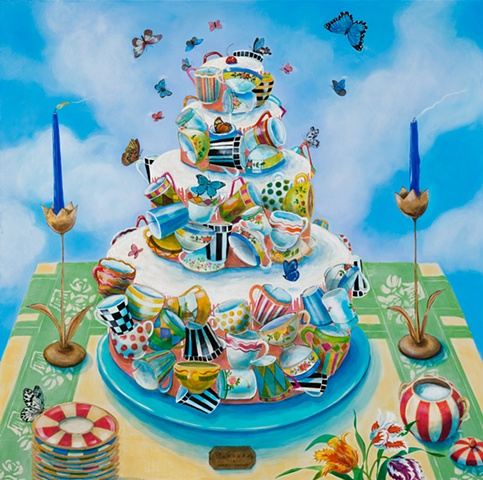 delicious, whimsical, fanciful,visual pun,layer cake built of cups, acrylic painting by Chris Miroyan