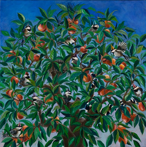 chickadees with party wisdom hats share fruit tree with king snake acrylic painting by chris miroyan