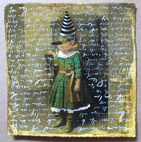whimsical folk art unique hand painted print by Chris Miroyan