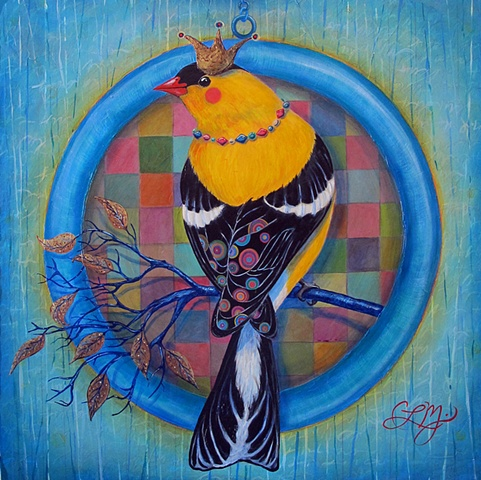 colorful pattern bird in ring with crown acrylic painting by chris miroyan