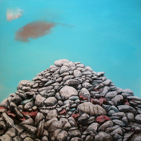new american paintings, art, artist, artwork, rock, rocks, rockpile, rock pile, stones, painting of, canvas, entropy,entropic, decay, order, acrylic, chris hernandez artist, other peoples pixels