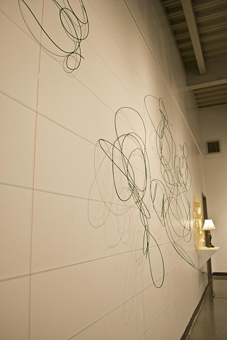 clothesline wire, fishing line and white paint, undulating shadows, scribble, By Katrina Murray,  Photo courtesy of Katelin Kenny