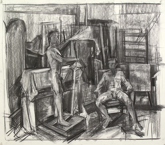 two figures in interior