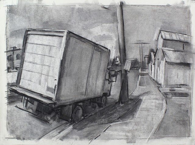 Fredericksburg Truck Wolfe Street Charcoal on Paper 18 x 24 2016