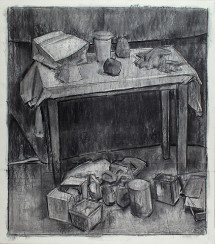 Chambersburg Still Life, Top & Bottom Charcoal on Paper 30 x 24 2016